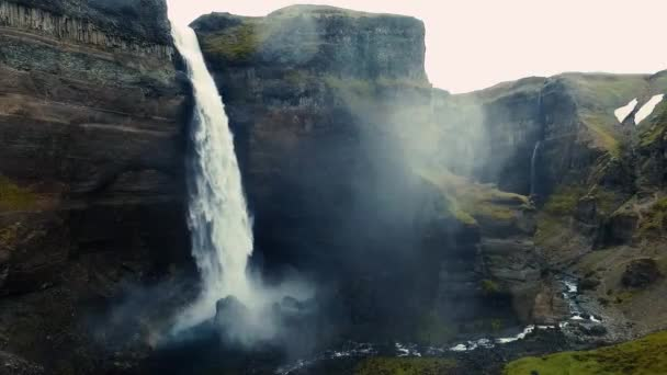 aero frame from iceland, waterfalls, mountains and nature