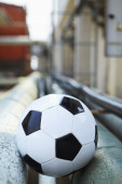 Selective focus on a soccer ball