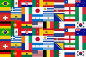 close up of  different national Flags