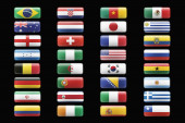 close up of   Soccer team flags