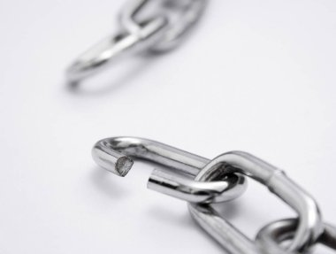 close up view of Broken chain