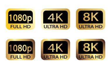 Black, white and golden video or screen resolution icons. Set from 1080p to 8k. 8K UHD is the highest resolution defined in the Rec. 2020 standard.