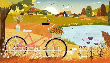 Autumn landscape with farmhouse and Kingfisher bird standing on bicycle near the lake,Vector late Summer in countryside with wood barn, wild flower and grass fields on hills.Eco Farming agriculture