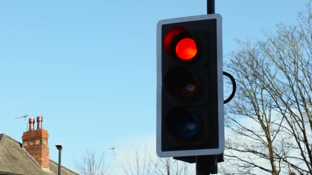 Britische Ampeln schalten an einem klaren, sonnigen Tag vor strahlend blauem Himmel von Rot auf Grün