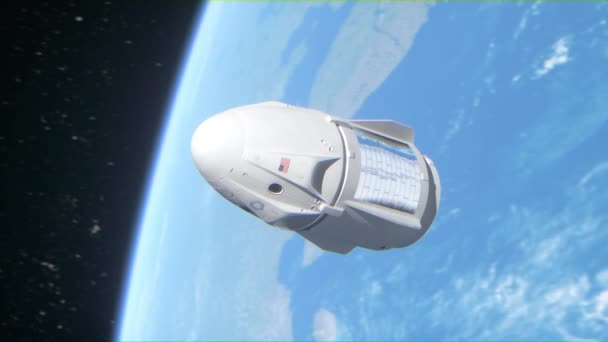 Usa cargo spacecraft with astronauts on low earth orbit. Space technologies