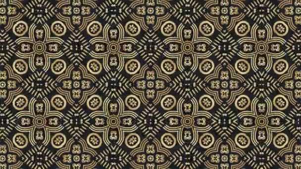 Golden kaleidoscope ornamental background. Abstract Folk flowers loop animation