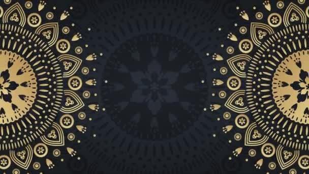 Gold mandala ornament background. Folk luxury animation. For yoga, design