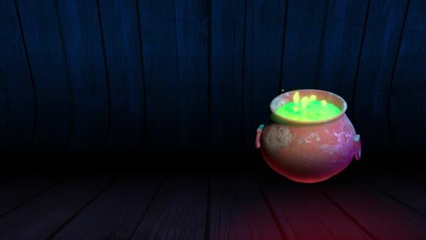 Boszorkányüst forrásban lévő zöld bájitallal. Halloween ünneplés kísérteties szimbólum.