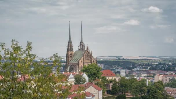 The Cathedral of Saints Peter and Paul Petrov, Roman Catholic, Baroque, Gothic Revival, Brno city, in the Czech Republic, architect August Kirstein, Europe,timelapse 4k,sunny day.