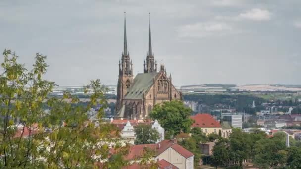 The Cathedral of Saints Peter and Paul Petrov, Roman Catholic, Baroque, Gothic Revival, Brno city, in the Czech Republic, architect August Kirstein, Europe,timelapse zoom out 4k,sunny day.