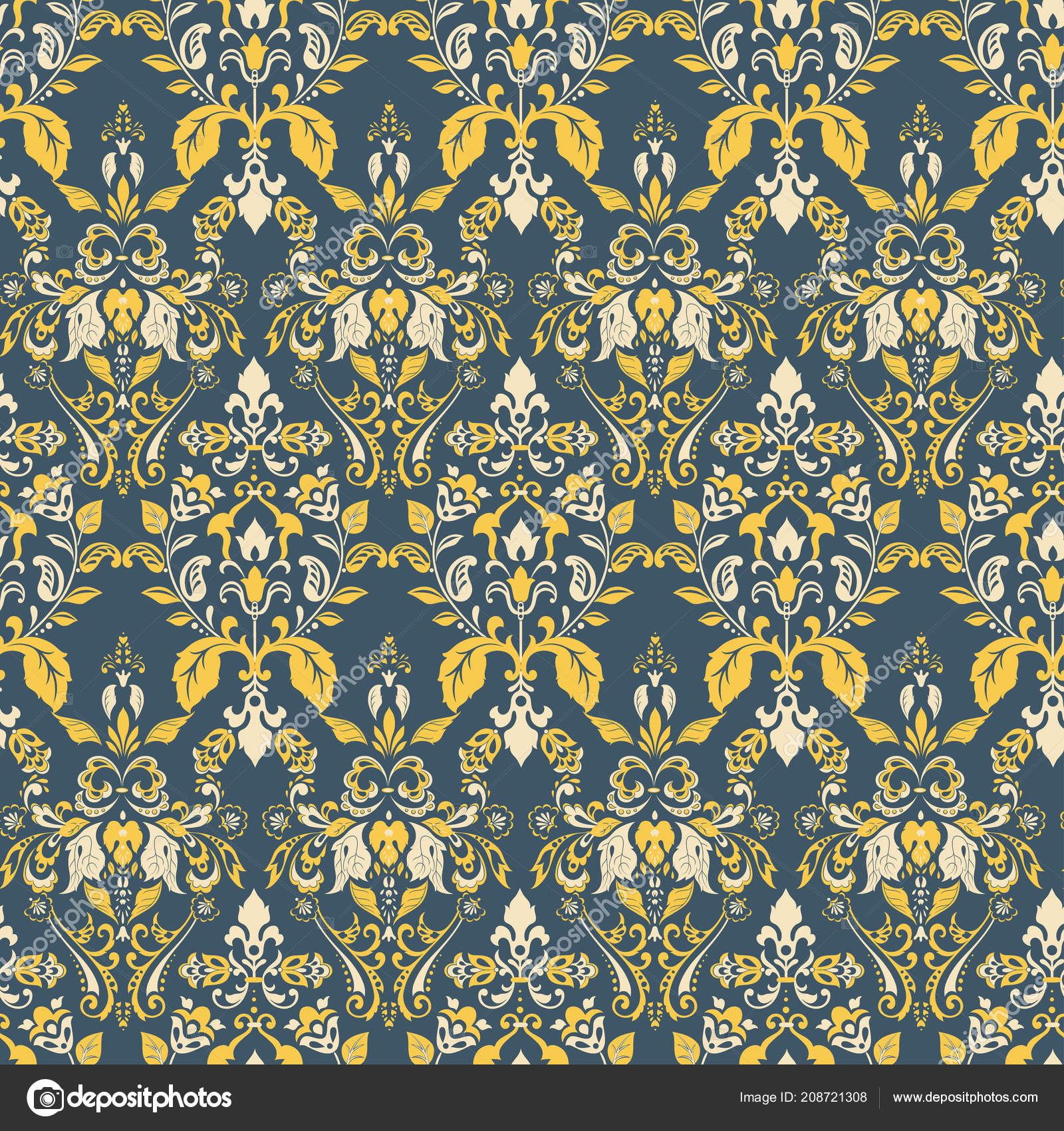 Seamless Vintage Vector Background Floral Wallpaper Baroque Style Pattern Stock