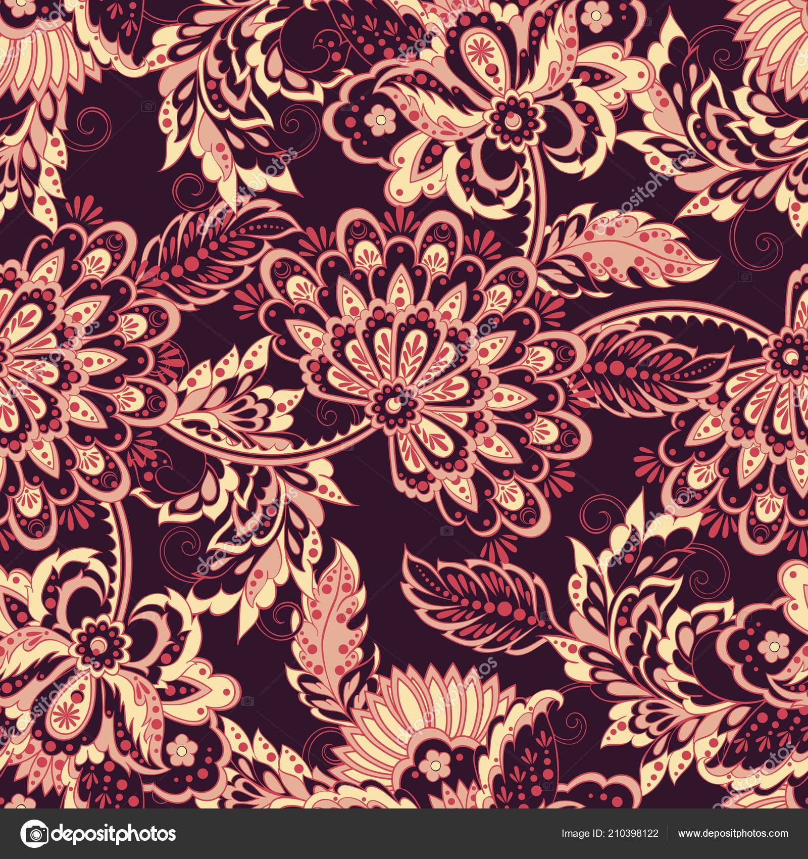 Vintage vzor v indické batikován stylu Květinové vektorové pozad — Vektor od meduzzza