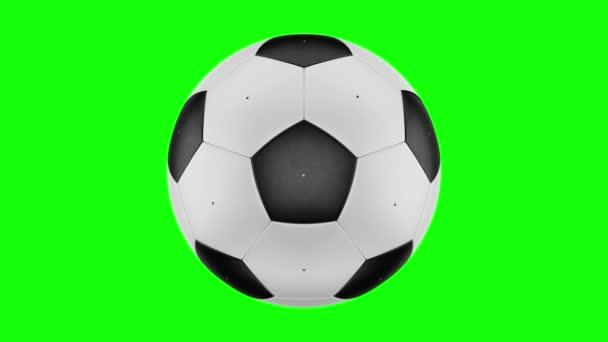Transformace fotbalového míče. Přechod z černých oblastí do bílé oblasti a naopak. Bezproblémové průchozí videosignál. 3D vykreslování. 4k, 3840 x 2160. Zelená obrazovka.