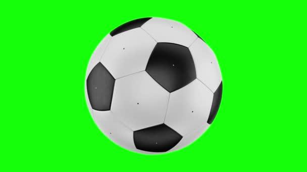 Átalakulás egy forgó futball-labda. Átmenet a fekete területek a fehér területek és fordítva. Varrat nélküli hurkolás video. 3D-leképezést. 4k, 3840 x 2160. Zöld képernyő.