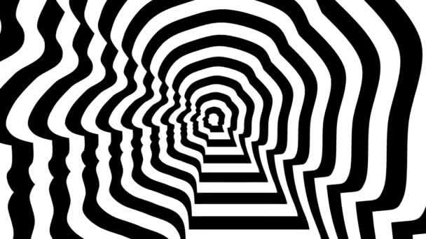 Elvont szimbólum, Boris Johnson elhagyta Profile. 3D renderelés folyamatos hurkolás animáció. Koncentrikus szembejövő absztrakt szimbólum, személy profil-optikai, vizuális illúzió. 3840x2160, 4k.
