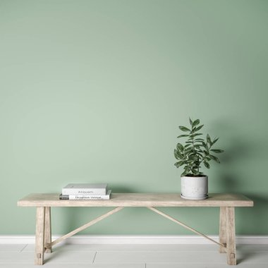 Mock up wall interior in Scandinavian style, blank wall in green background, wooden rustic bench, with green plant stock vector