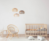 Photo Interior of Scandinavian baby room with comfortable crib and rattan armchair in nursery decor, 3D render