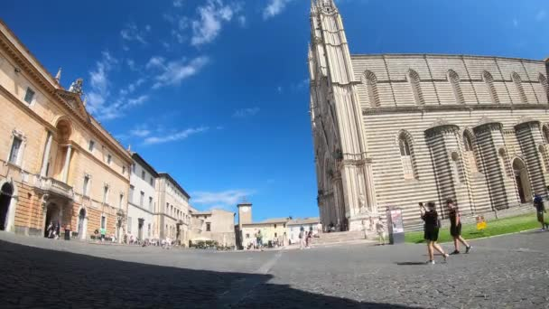 orvieto.italy july 18 2020:time lapse square of duomo of orvieto and its cathedral