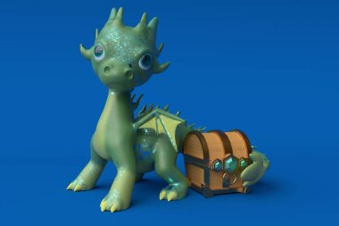 The green dragon guards the treasure. 3d rendering