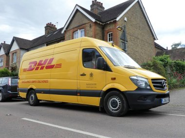 DHL Mercedes Sprinter delivery van. DHL is an international company providing delivery services.
