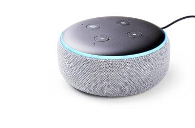 Amazon Echo Dot 3 isolated on white background.