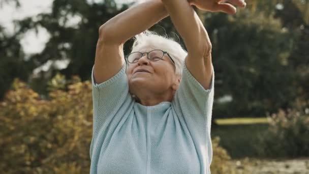 Porträt einer Seniorin, die in der Natur übt