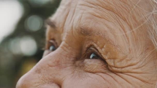 Oči postarší ženy v parku. dívá se na oblohu. Extrémní zavření