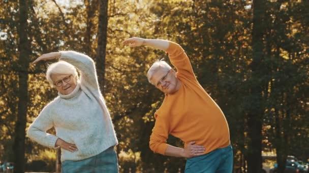 Älteres Paar beim Sport im Park. Herbstliche Natur und gesunder Lebensstil