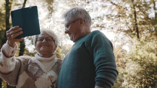 Starší pár v lásce přičemž selfie v lese na podzim