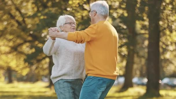 Romantika ve stáří. Starší pár v důchodu tančí v parku na podzim
