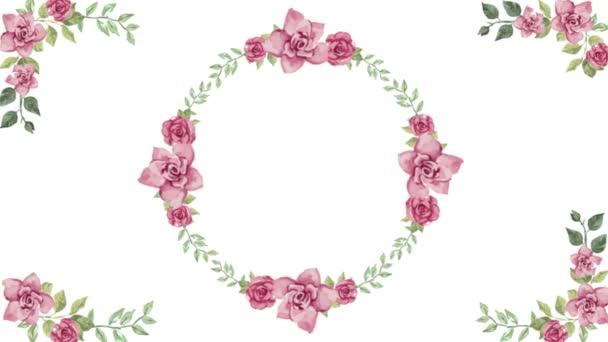 Akvarell virágos kerek keret (koszorú) bármilyen romantikus célú design fehér háttér