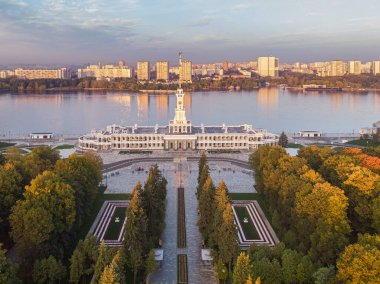 The North River Terminal in Moscow. City park. View of the autumn Park from a height