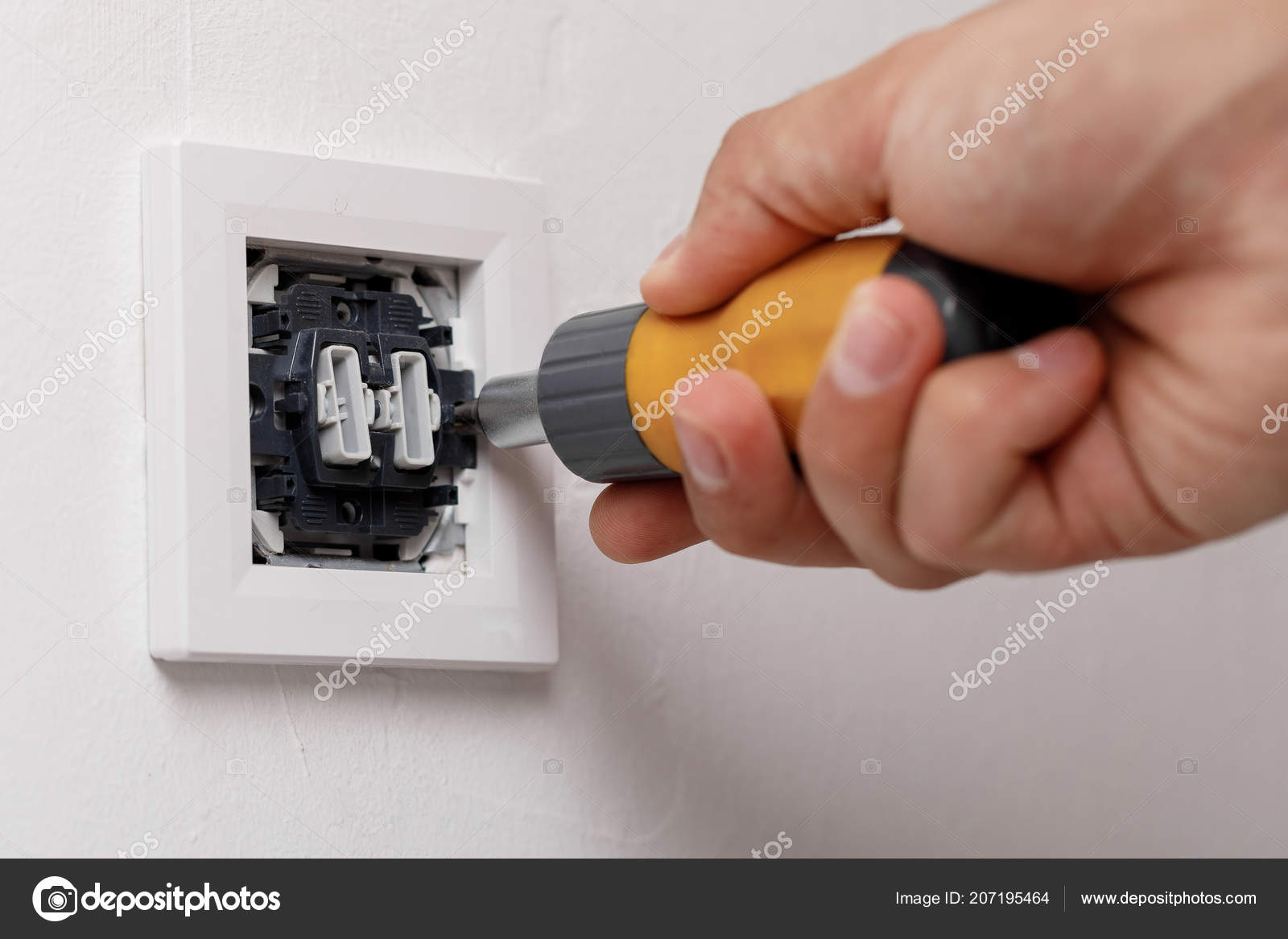 electrician installing light switch — Stock Photo © erstudio #207195464