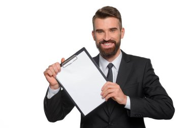 Happy professional demonstrates his business plan