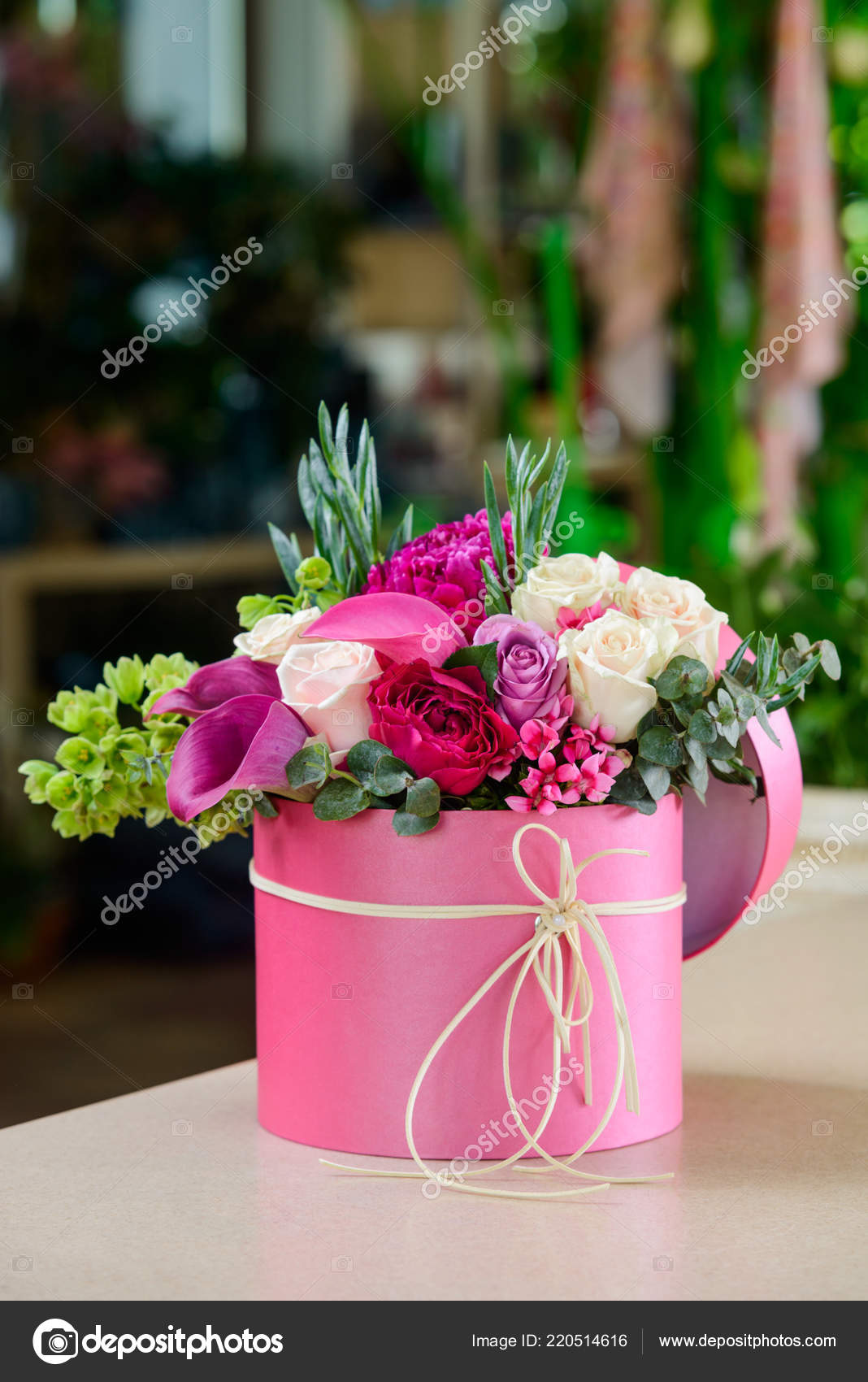 Birthday Present For Girlfriend Bright Flower Composition Of Pink And White Blossoms Placed In Round Box Work Professional Florist