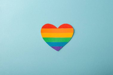 Rainbow heart on blue