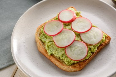 Toast with avocado and radish
