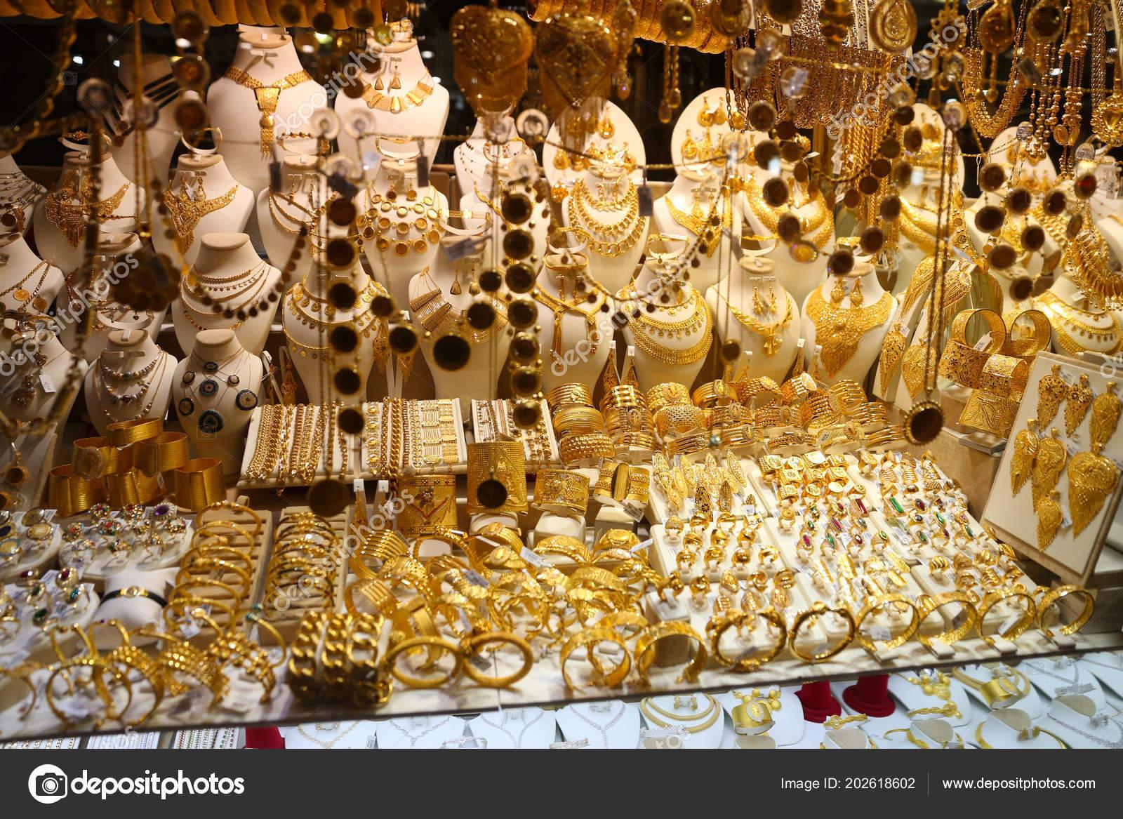 Istanbul Turkey May 2018 Gold Jewelry Window Jewelry Store Spice