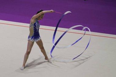 ISTANBUL, TURKEY - JUNE 24, 2018: Unknown gymnast performs during Istanbul Rhythmic Cup