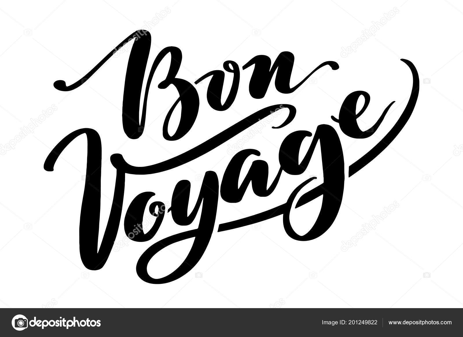 hand drawn vector lettering bon voyage word by hands isolated