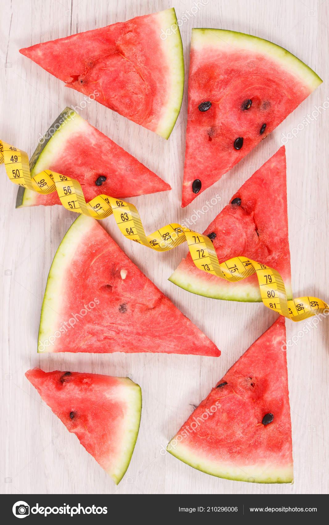 Frische Saftige Wassermelone Und Massband Konzept Der Lecker Gesundes