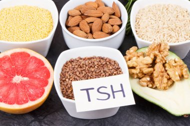 Dietary and beneficial eating for thyroid gland. Food containing natural healthy vitamins and minerals