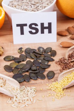 Inscription TSH with products and ingredients as source healthy natural vitamins and minerals. Beneficial eating for thyroid gland concept