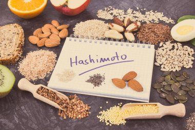Nutritious ingredients and inscription hashimoto written in notepad. Healthy food containing vitamins. Problems with thyroid concept