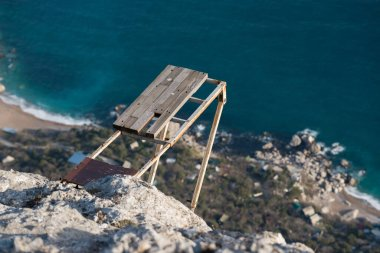 Old base jumping platform on a cliff in the Crimean mountains