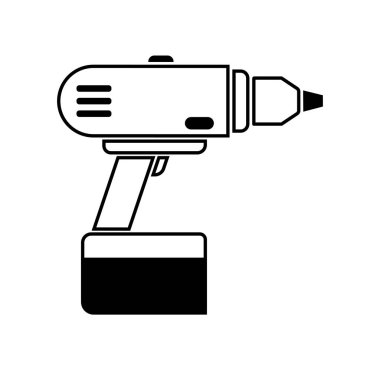 Drill vector hand tool flat.Electric screwdriver bit icon.