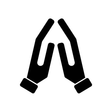 Pray or hands together in religious prayer flat vector icon for apps and websites icon