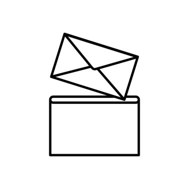 Envelope in post box icon, flat style. Vector Illustration. icon