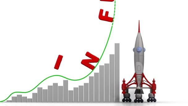 Az infláció növekedési grafikonja. Grafikon a gyors növekedés a piros szó (az árak általános növekedése és csökkenése a beszerzési érték a pénz), az infláció és a rakéta-dob. Felvételeket videóinak