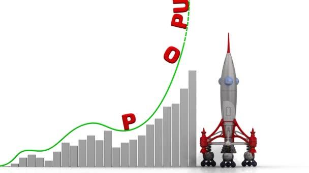 A grafikon, a népesség növekedése. Grafikon a gyors növekedés piros szó népesség és a rakéta-dob. Felvételeket videóinak